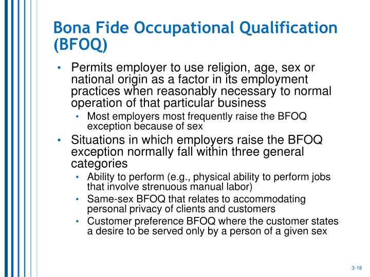 Bona Fide Occupational Qualification (BFOQ)