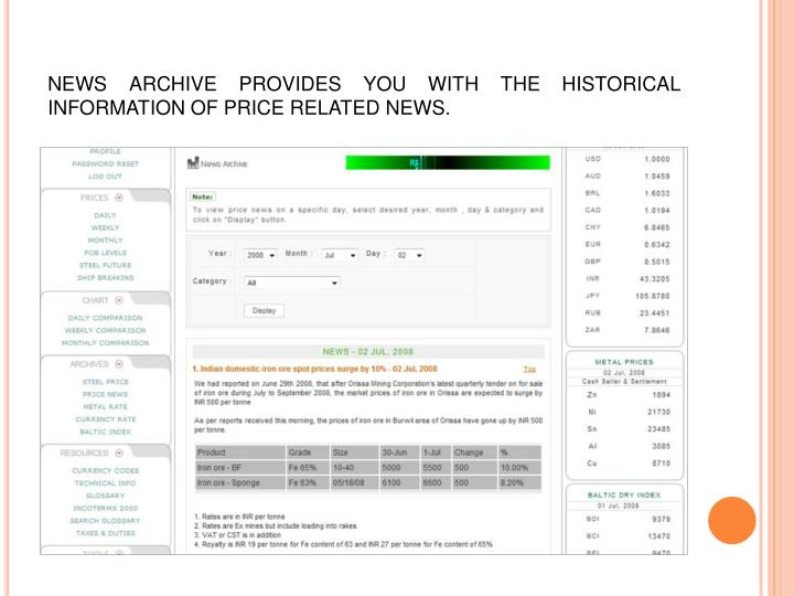 NEWS ARCHIVE PROVIDES YOU WITH THE HISTORICAL INFORMATION OF PRICE RELATED NEWS.