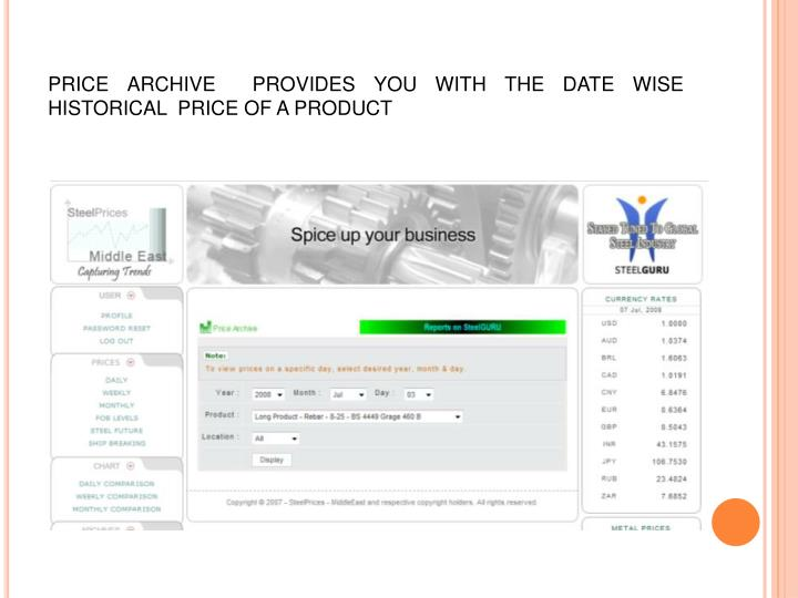 PRICE ARCHIVE  PROVIDES YOU WITH THE DATE WISE HISTORICAL  PRICE OF A PRODUCT