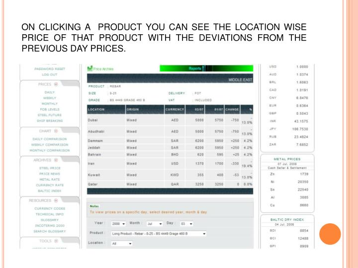 ON CLICKING A  PRODUCT YOU CAN SEE THE LOCATION WISE PRICE OF THAT PRODUCT WITH THE DEVIATIONS FROM THE  PREVIOUS DAY PRICES.
