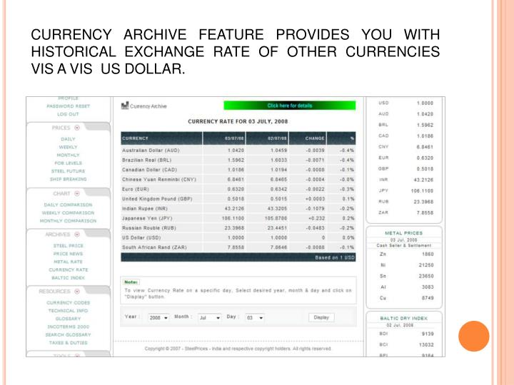 CURRENCY ARCHIVE FEATURE PROVIDES YOU WITH HISTORICAL EXCHANGE RATE OF OTHER CURRENCIES VIS A VIS  US DOLLAR.