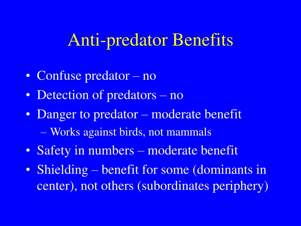 Anti-predator Benefits
