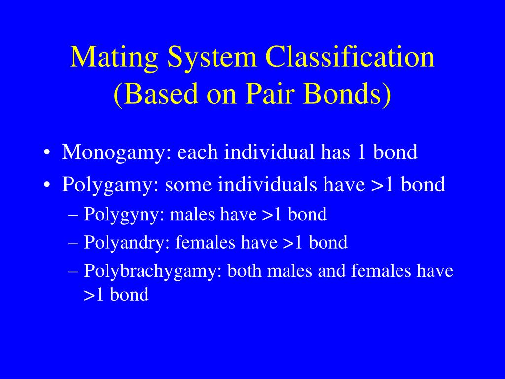 Mating System Classification (Based on Pair Bonds)