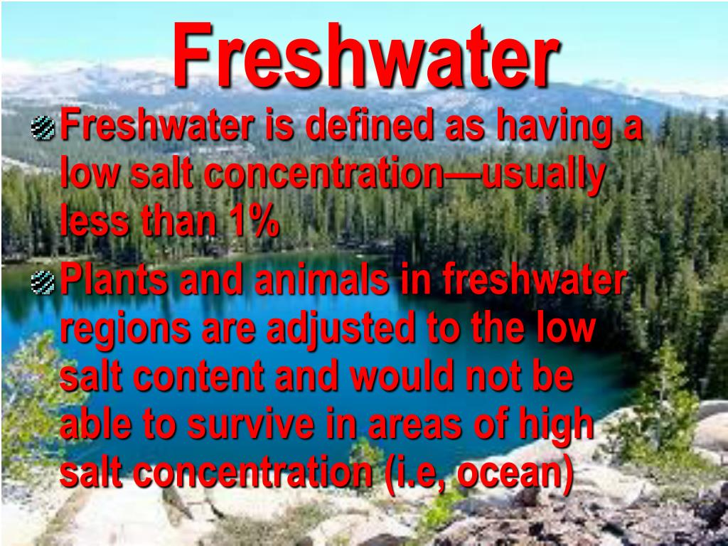 Freshwater is defined as having a low salt concentration—usually less than 1%