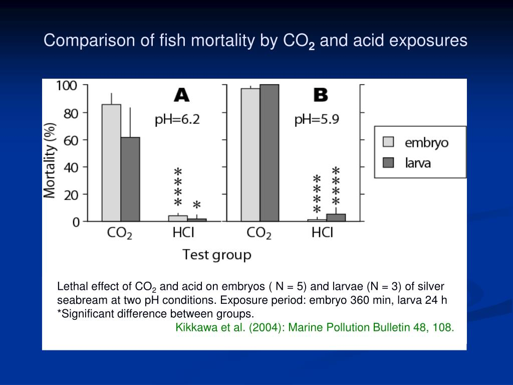 Comparison of fish mortality by CO