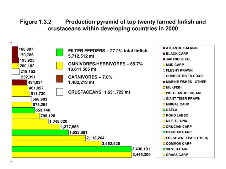 Figure 1.3.2	Production pyramid of top twenty farmed finfish and crustaceans within developing count...
