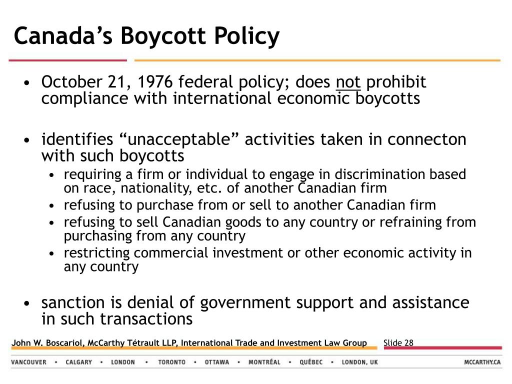 Canada's Boycott Policy