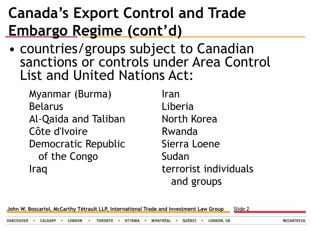 Canada's Export Control and Trade Embargo Regime (cont'd)