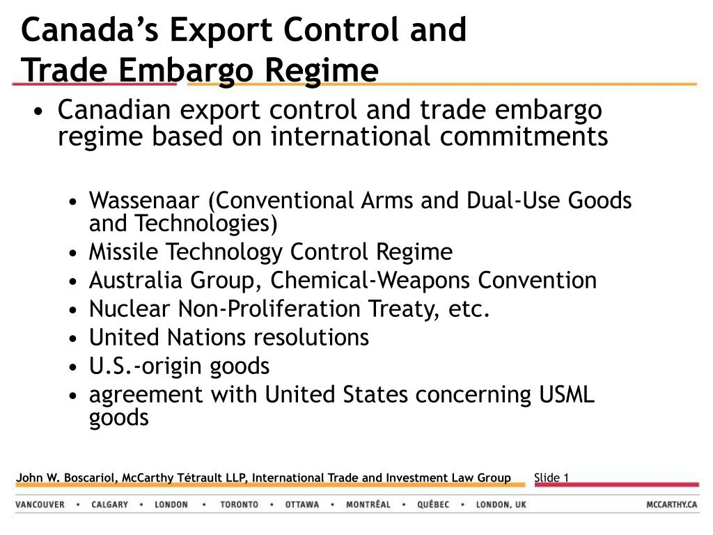 Canada's Export Control and