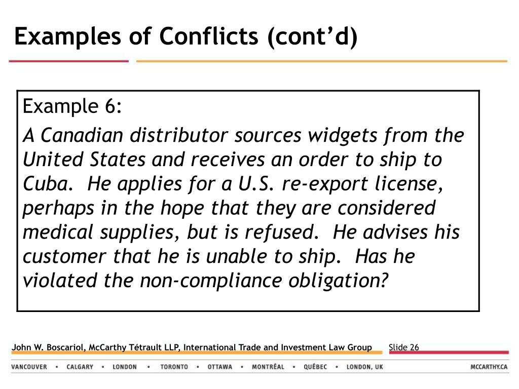 Examples of Conflicts (cont'd)