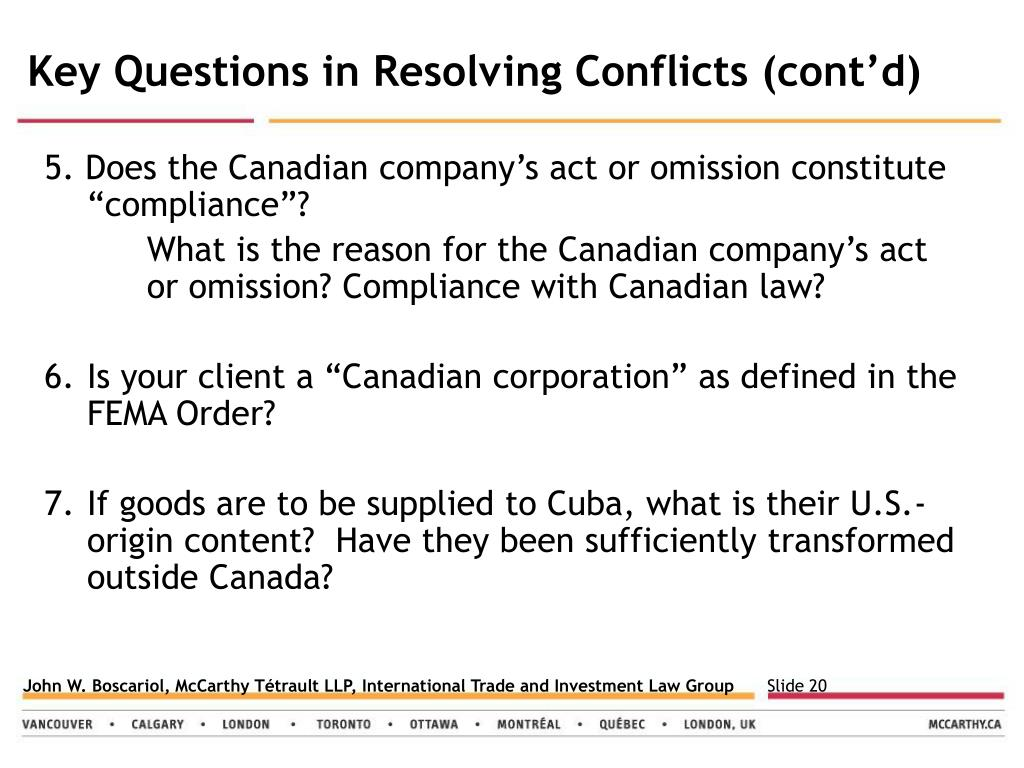 Key Questions in Resolving Conflicts (cont'd)