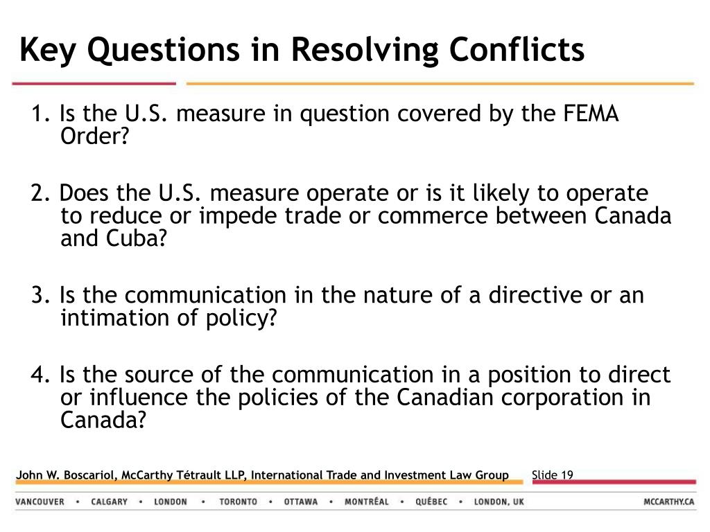 Key Questions in Resolving Conflicts