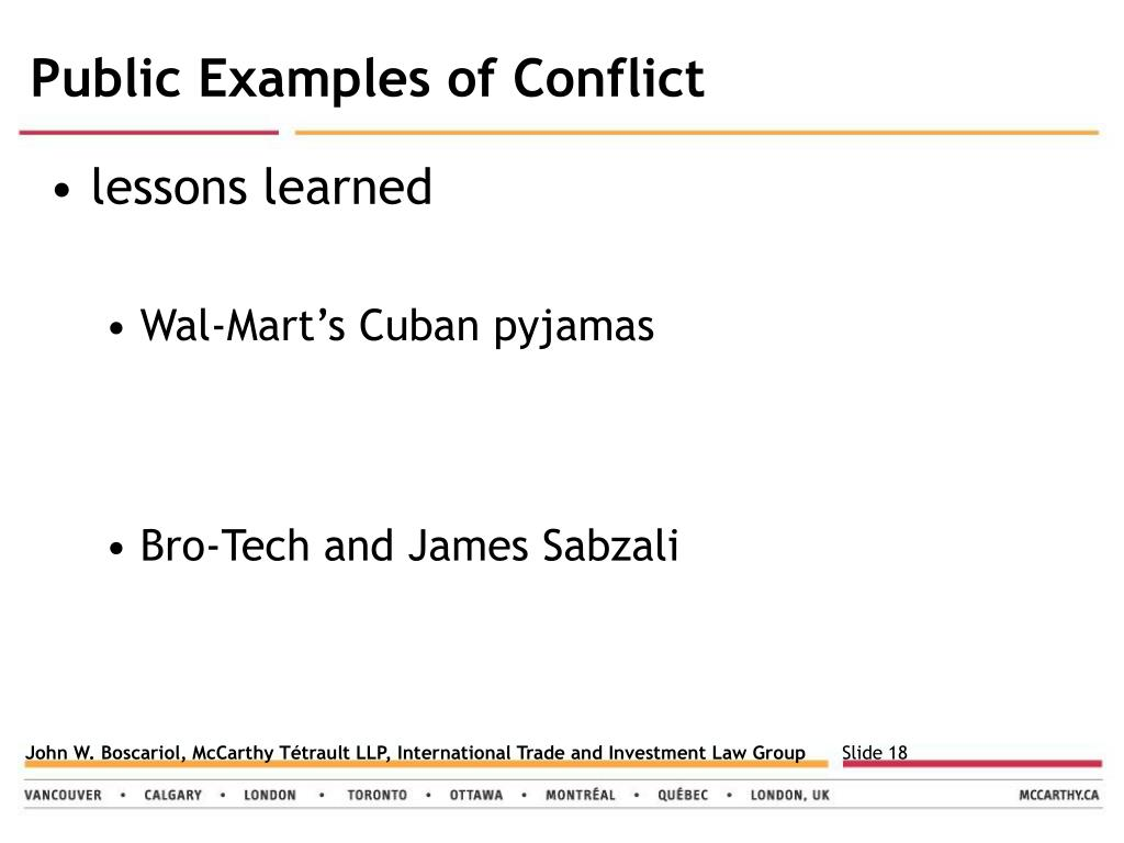 Public Examples of Conflict