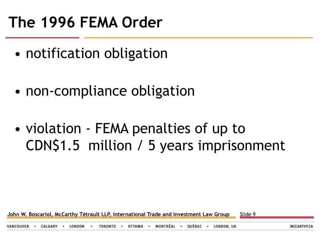 The 1996 FEMA Order