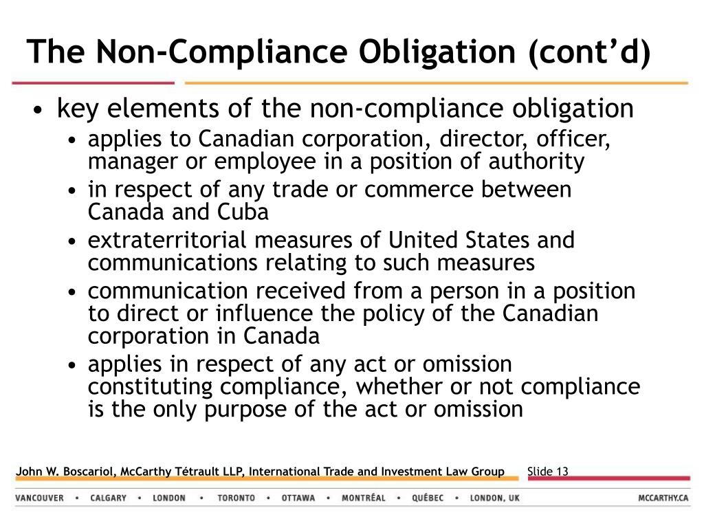 The Non-Compliance Obligation (cont'd)