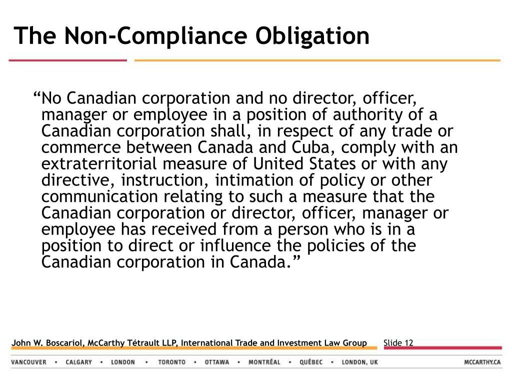The Non-Compliance Obligation
