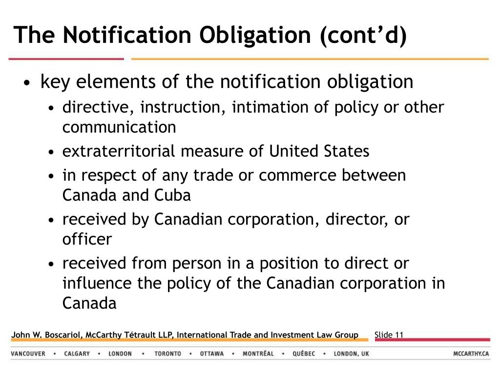 The Notification Obligation (cont'd)