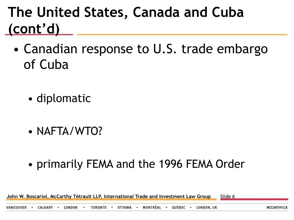 The United States, Canada and Cuba (cont'd)
