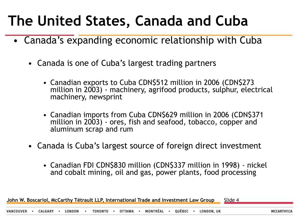 The United States, Canada and Cuba