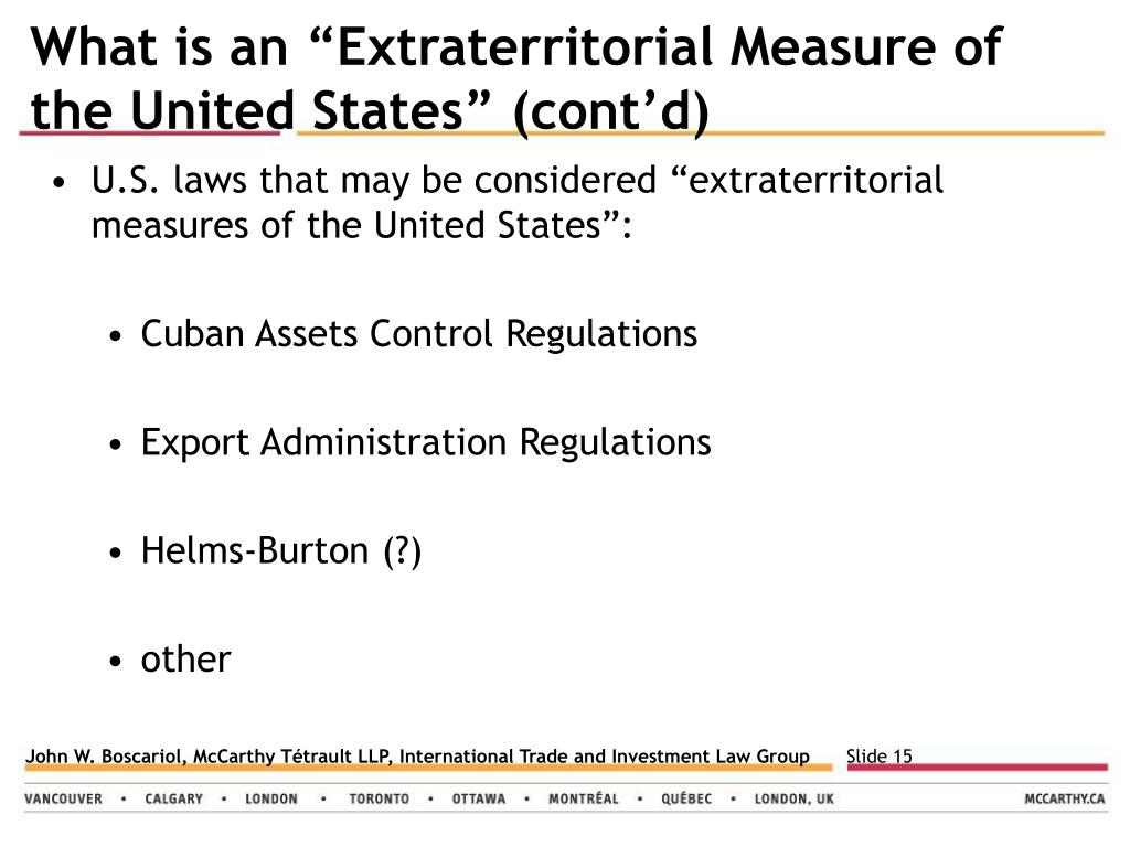 "What is an ""Extraterritorial Measure of"