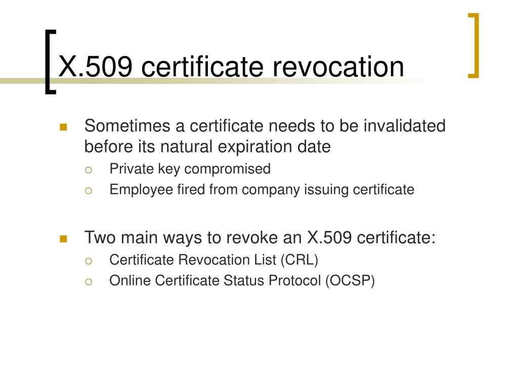 X.509 certificate revocation