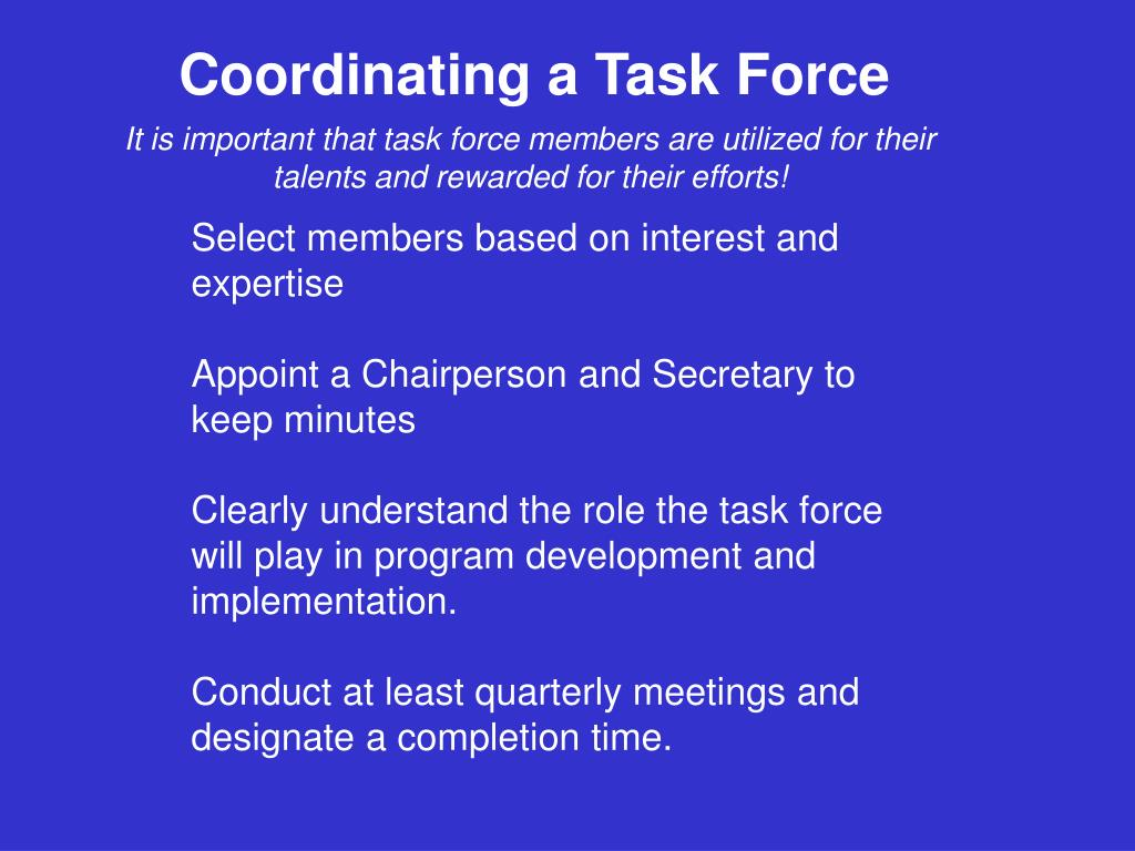 Coordinating a Task Force