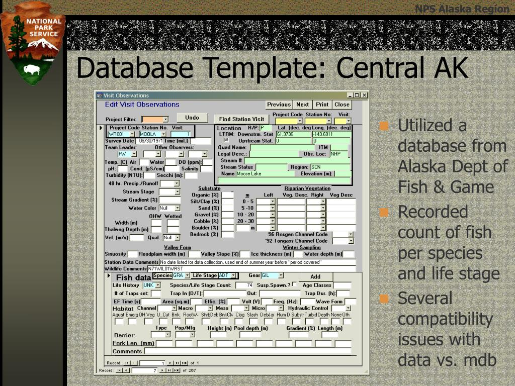 Utilized a database from Alaska Dept of Fish & Game