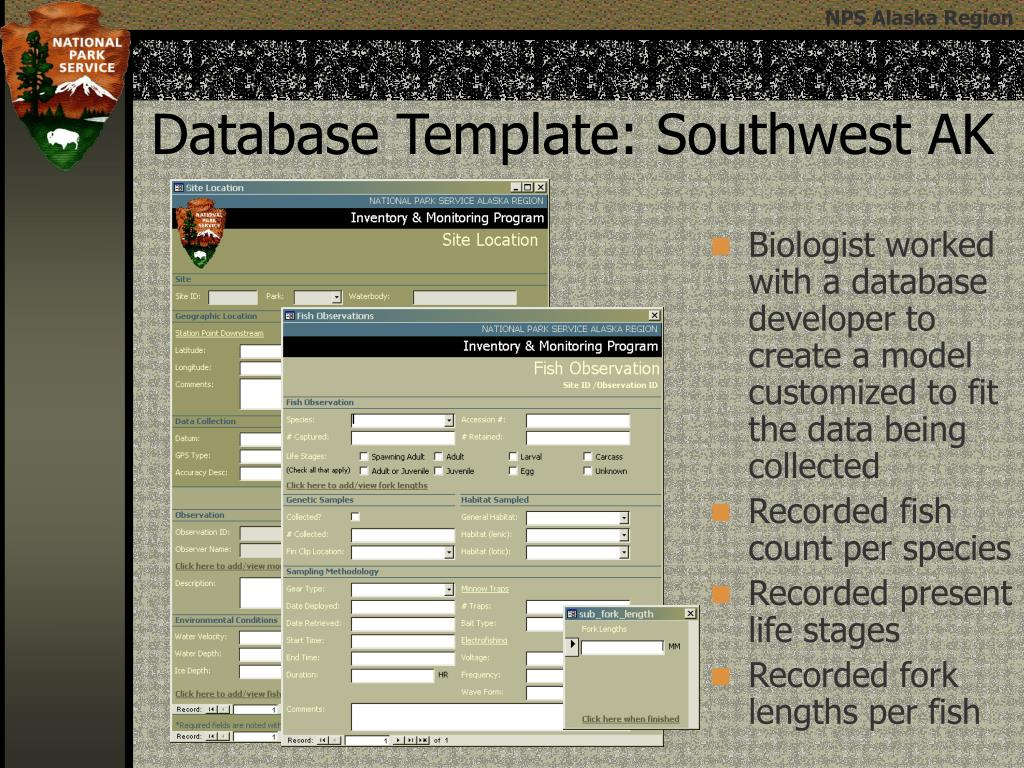 Biologist worked with a database developer to create a model customized to fit the data being collected