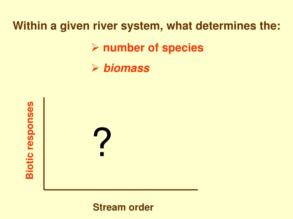 Within a given river system, what determines the: