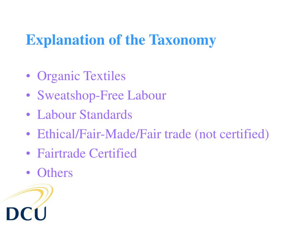 Explanation of the Taxonomy