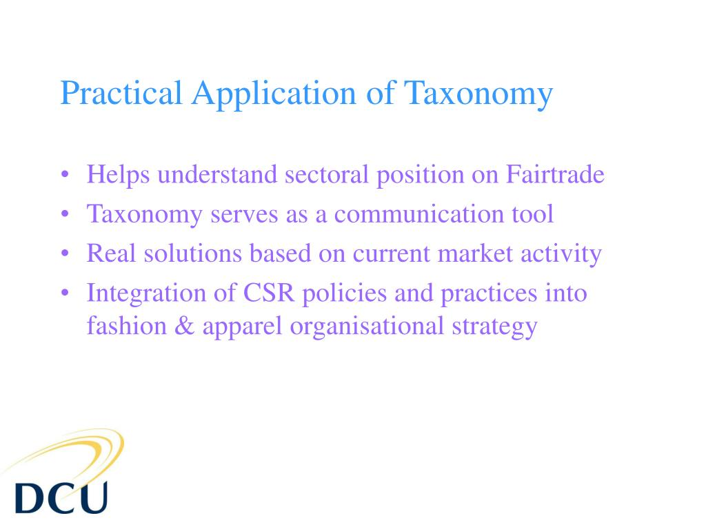Practical Application of Taxonomy