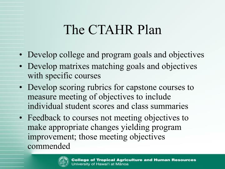 The CTAHR Plan