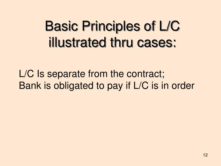 Basic Principles of L/C illustrated thru cases: