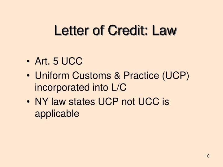 Letter of Credit: Law