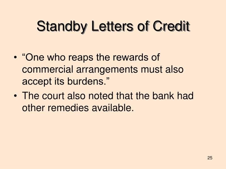 Standby Letters of Credit