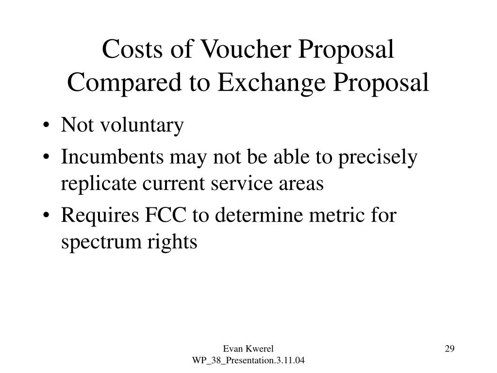 Costs of Voucher Proposal Compared to Exchange Proposal
