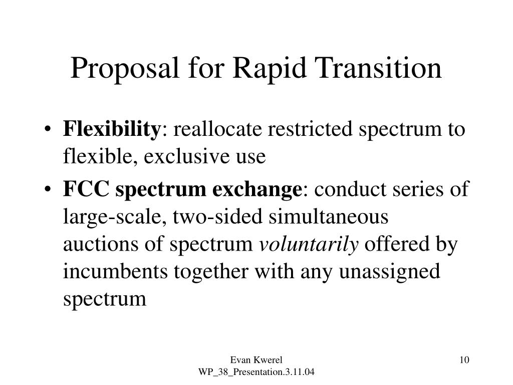 Proposal for Rapid Transition
