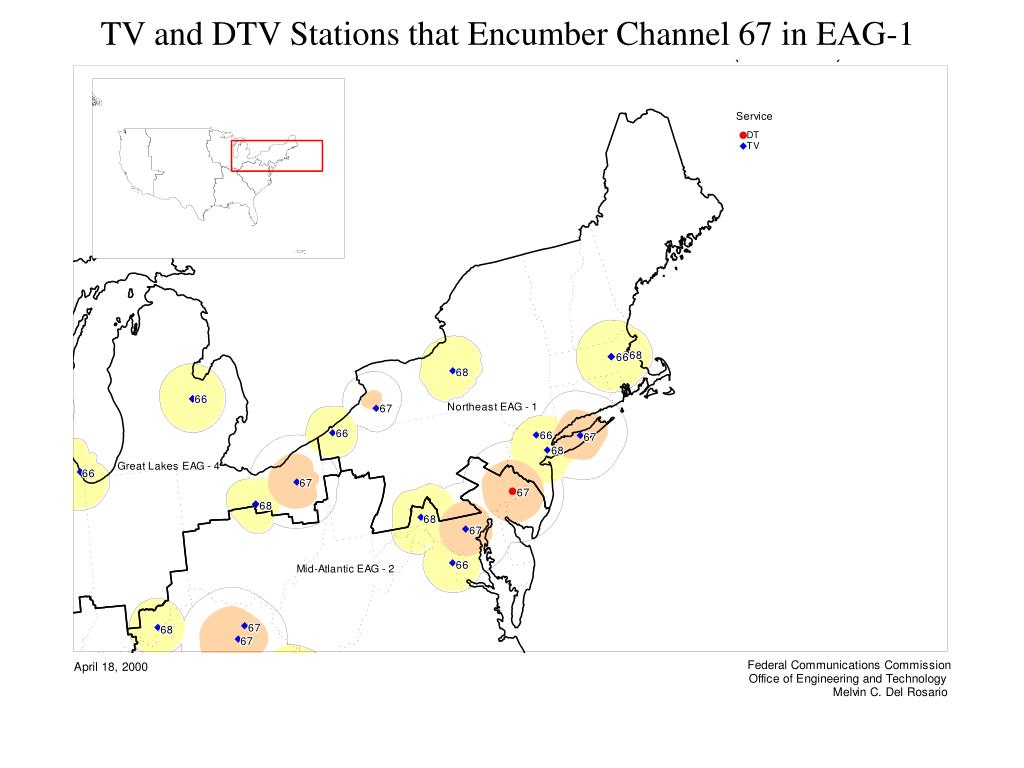 TV and DTV Stations that Encumber Channel 67 in EAG-1