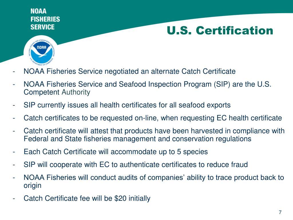 U.S. Certification