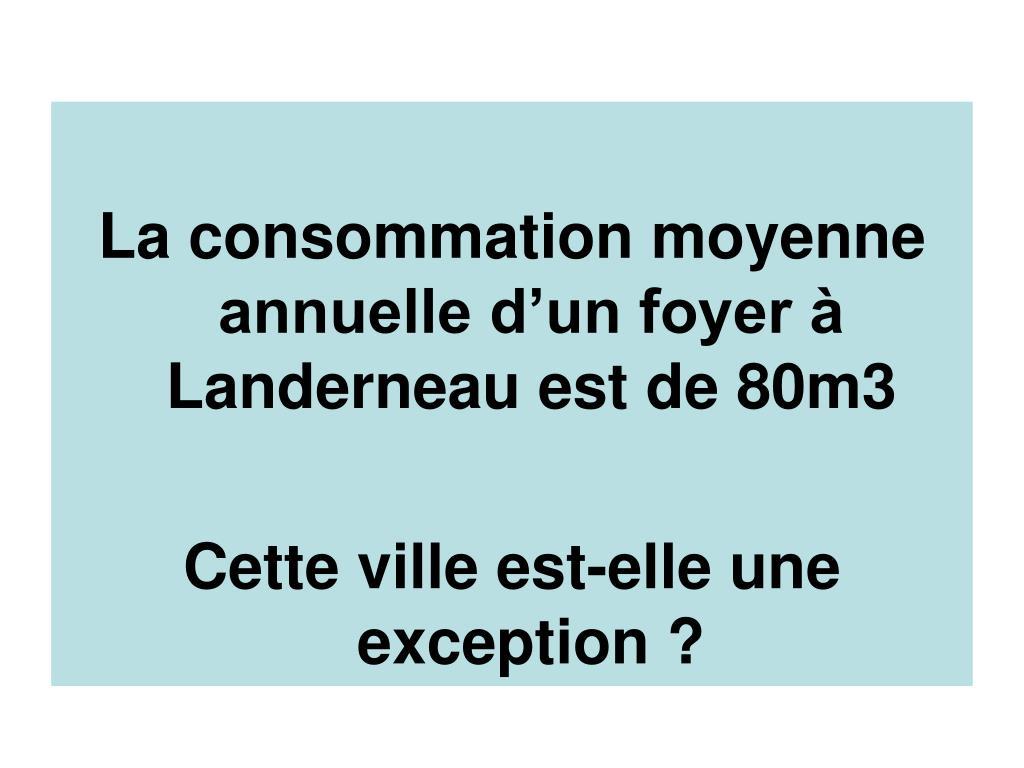 La consommation moyenne annuelle d'un foyer à Landerneau est de 80m3