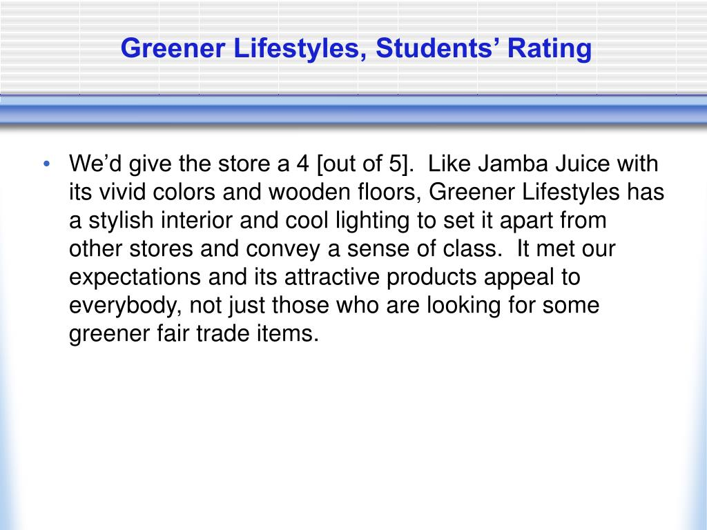 Greener Lifestyles, Students' Rating