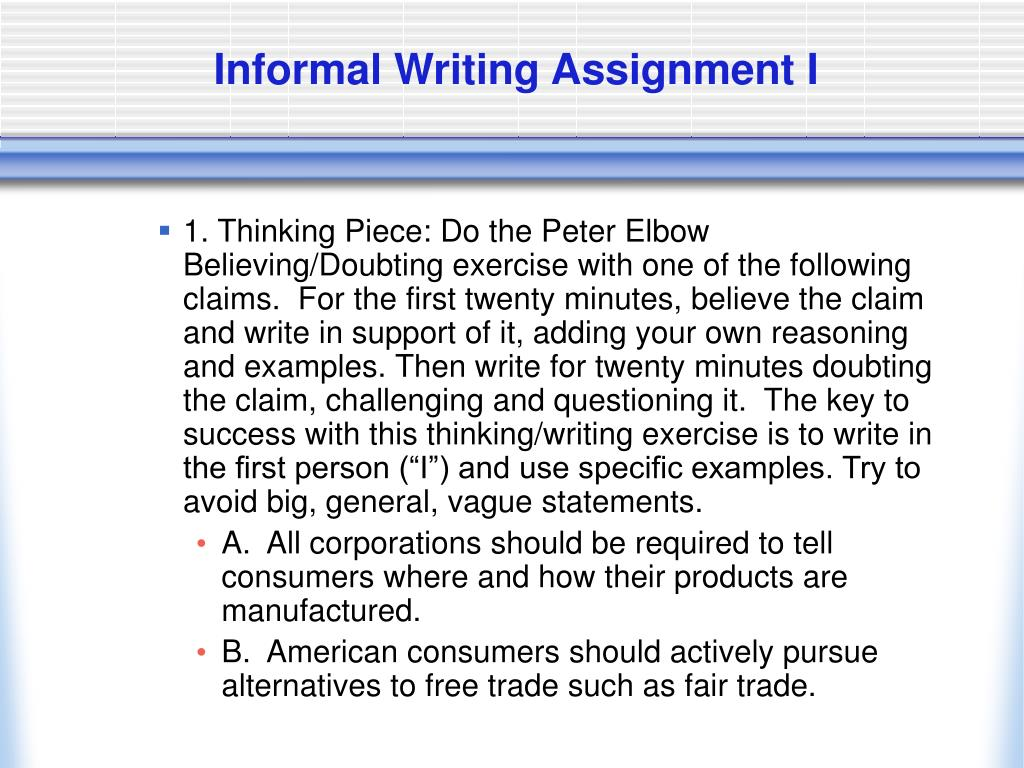 Informal Writing Assignment I