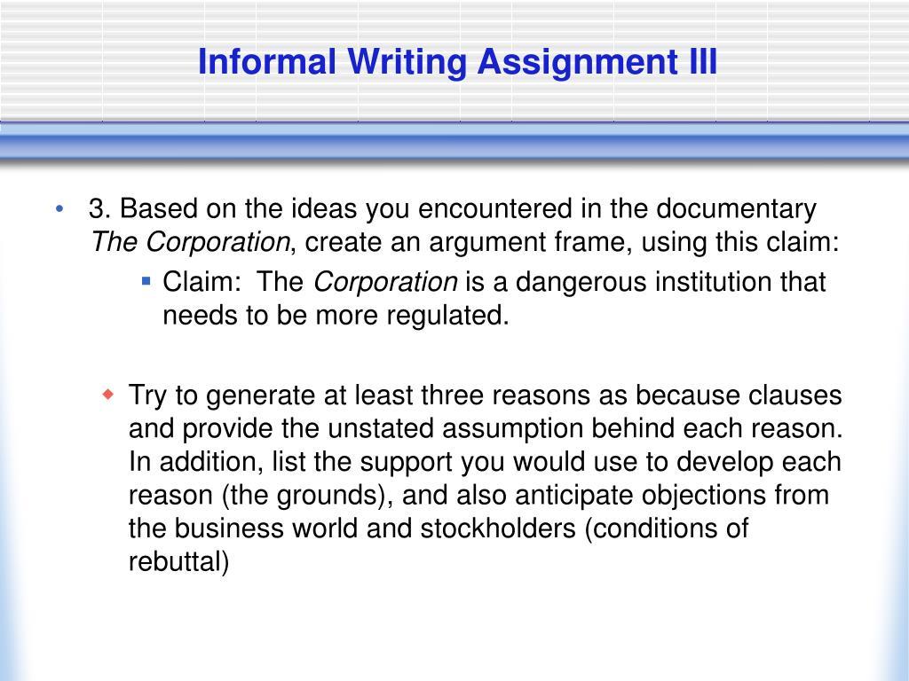 Informal Writing Assignment III
