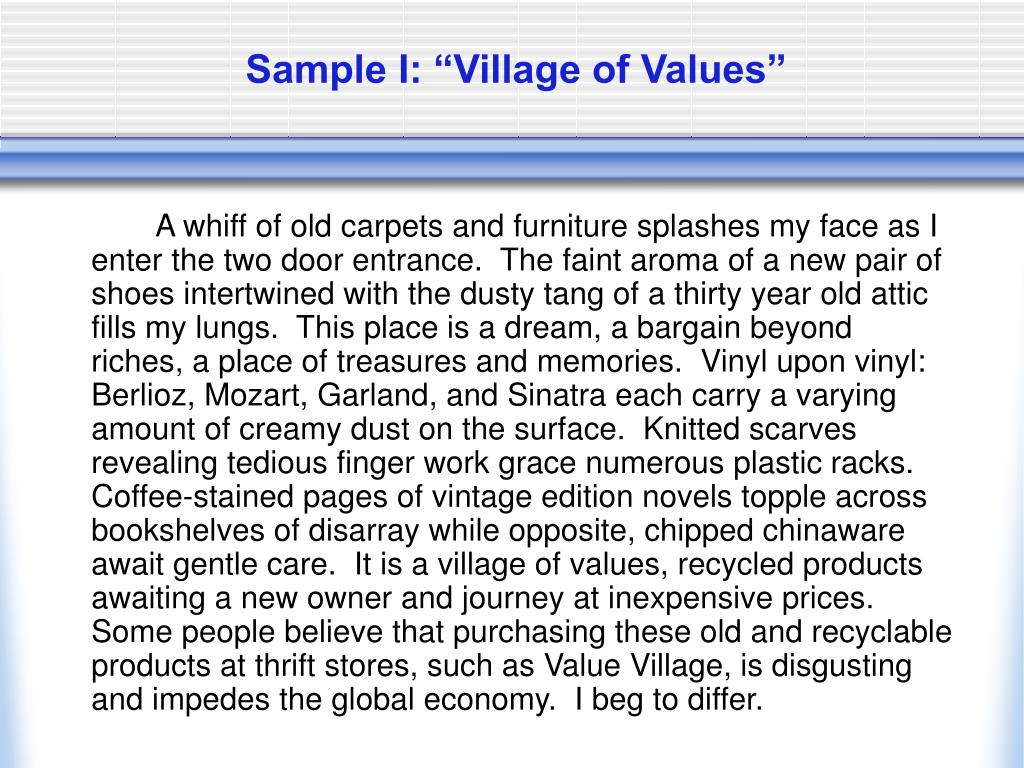 "Sample I: ""Village of Values"""
