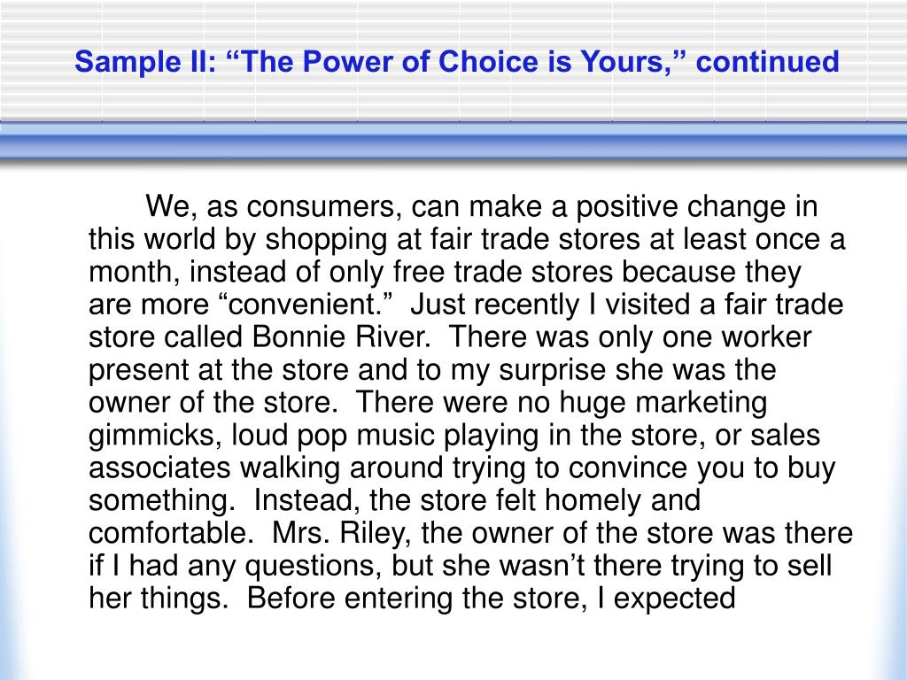 "Sample II: ""The Power of Choice is Yours,"" continued"