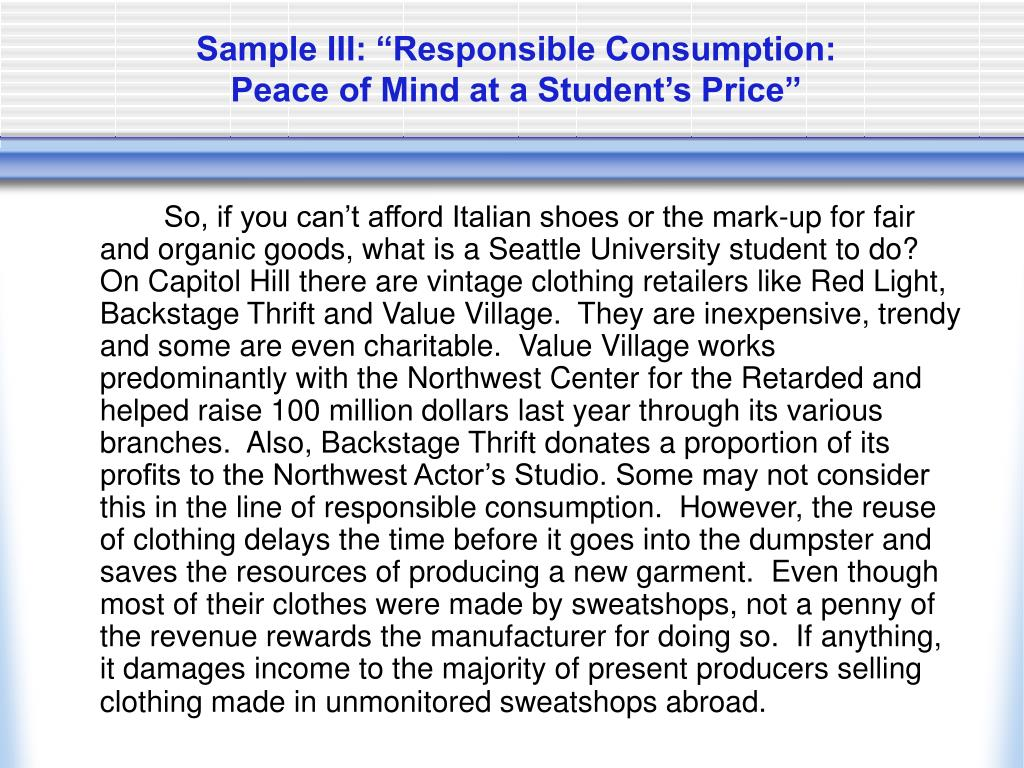 "Sample III: ""Responsible Consumption:"