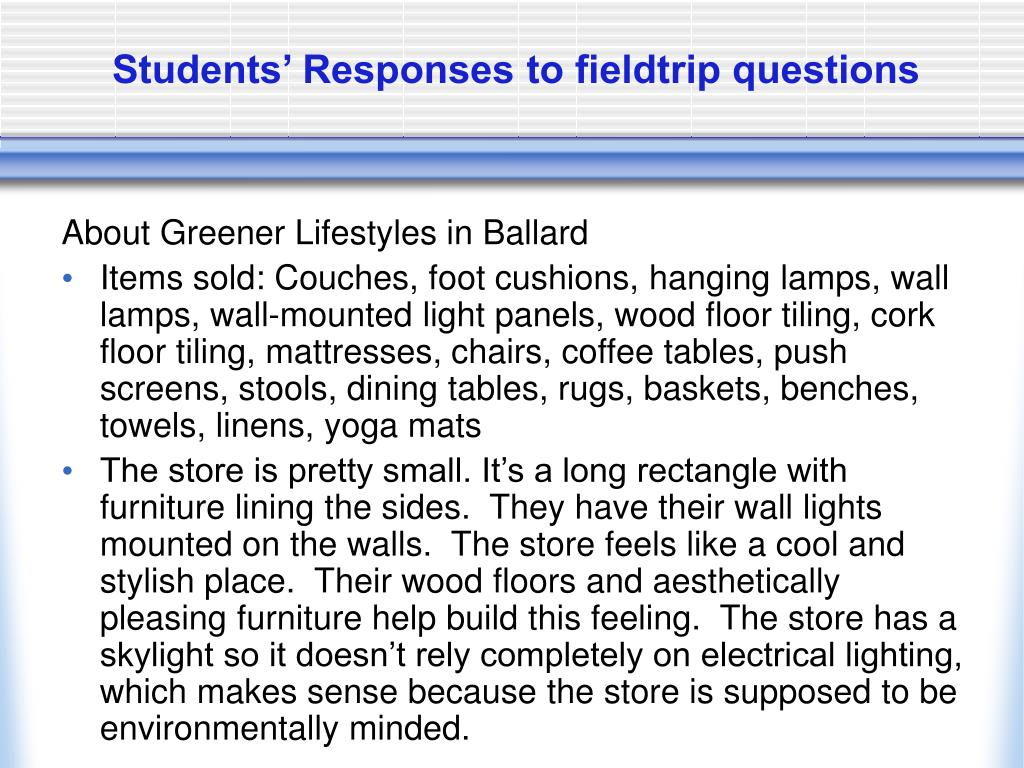 Students' Responses to fieldtrip questions