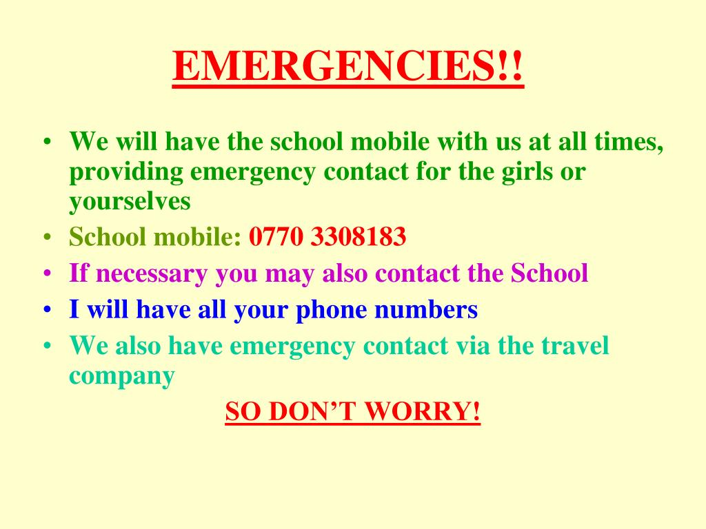 EMERGENCIES!!