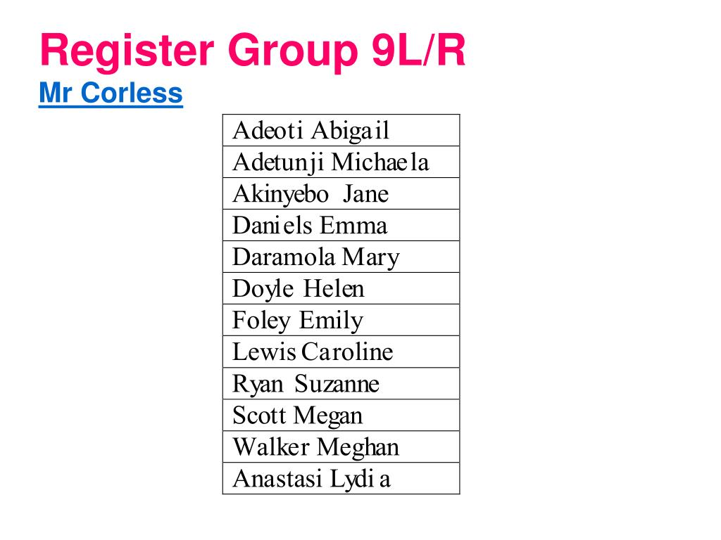 Register Group 9L/R