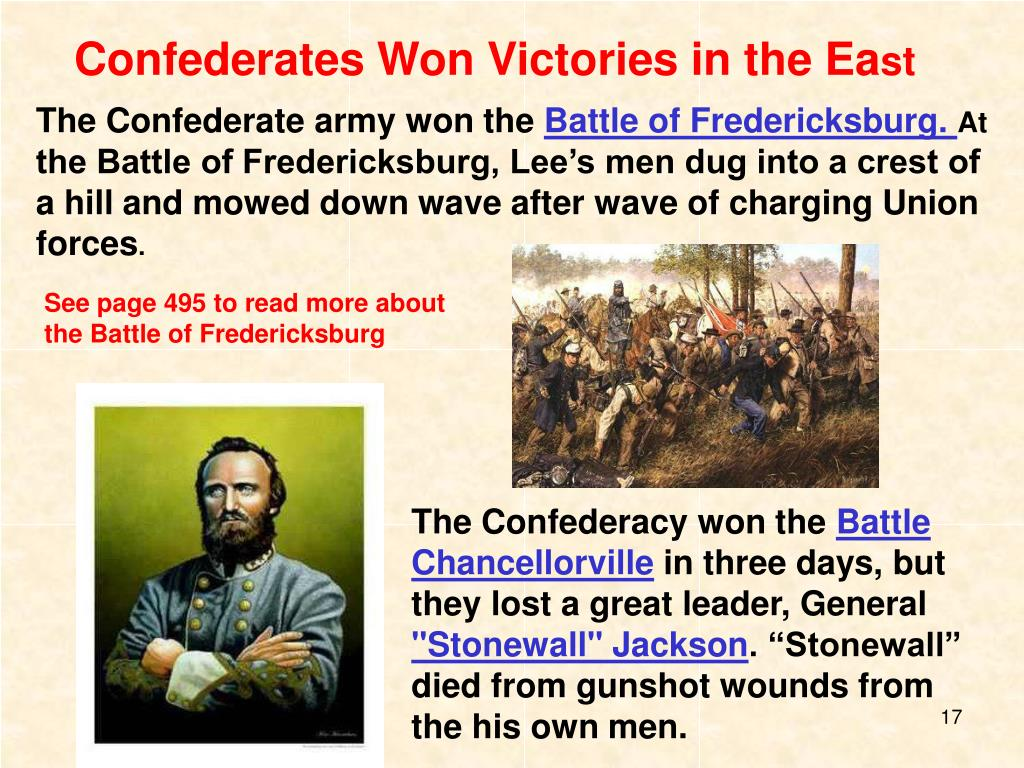 Confederates Won Victories in the Ea